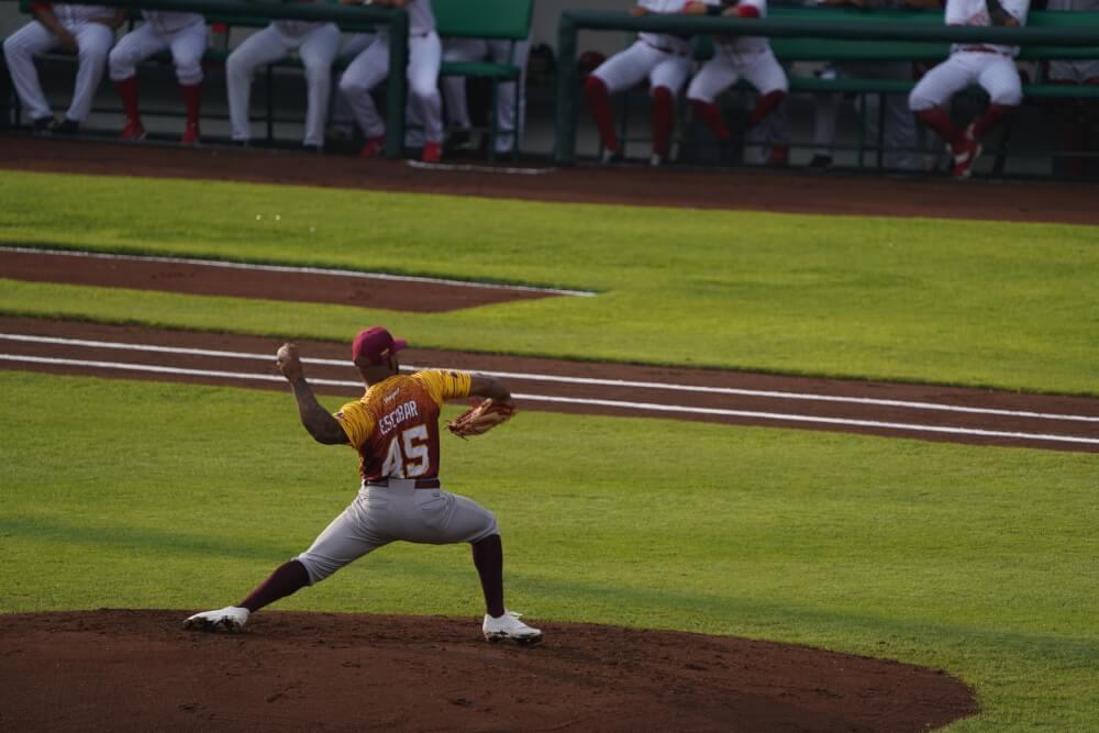 野球の試合で投げる左ピッチャーを3塁側から見たところ