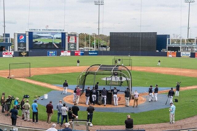 プロ野球選手の練習風景